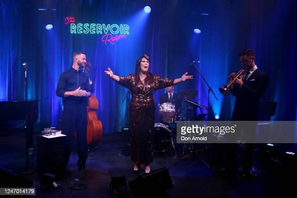 Catherine Alcorn greets Tim Draxl on set on June 06 2020 in Sydney Australia The Reservoir Room is livestream performances of theatre live music...