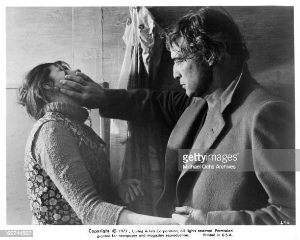 Catherine Allegret is struck by Marlon Brando in a scene from the film 'Last Tango In Paris' 1972