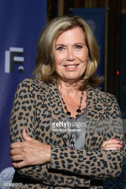 """Catherine Alric attends the """"Le Mensonge"""" : Photocall At Festival Fiction De La Rochelle At Folies Bergeres on September 18, 2020 in Paris, France."""