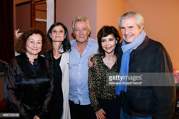 Catherine Arditi Salome Lelouch Pierre Arditi his wife Evelyne Bouix and Claude Lelouch pose Backstage after 'Le Mensonge' Theater Play Held at...