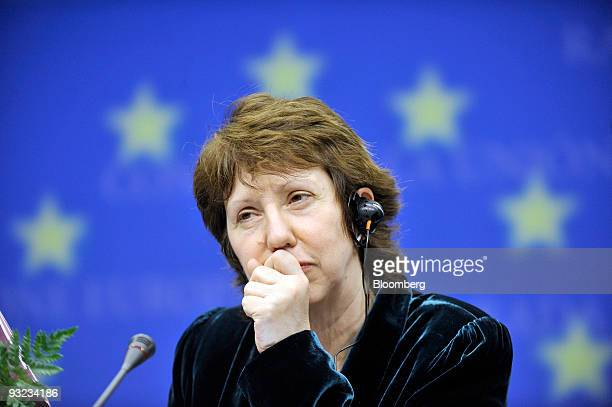 Catherine Ashton Europe's new foreign minister listens during the press conference following the European Union Summit at the EU headquarters in...