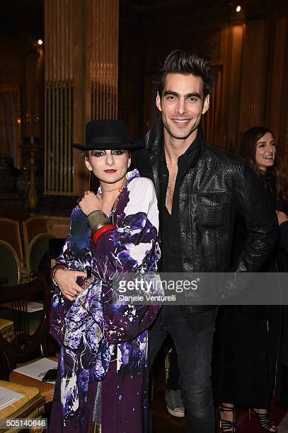 Catherine Baba and Jon Kortajarena attend the Roberto Cavalli show during the Milan Men's Fashion Week FW16 on January 15 2016 in Milan Italy