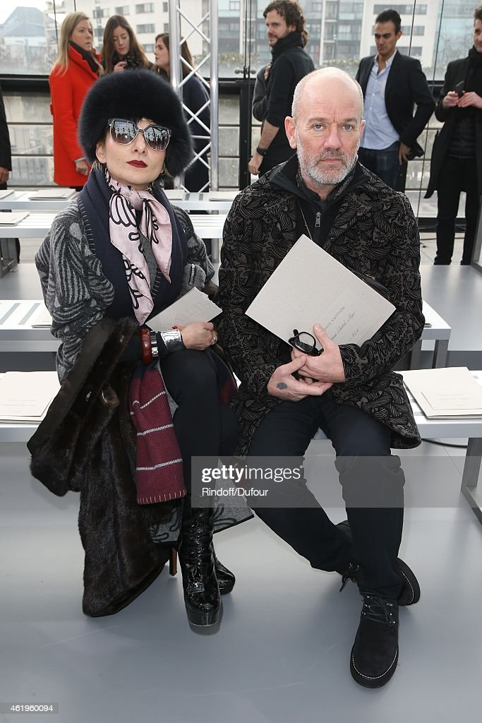 Catherine Baba and Michael Stipe attend the Louis Vuitton Menswear Fall/Winter 2015-2016 show as part of Paris Fashion Week on January 22, 2015 in Paris, France.