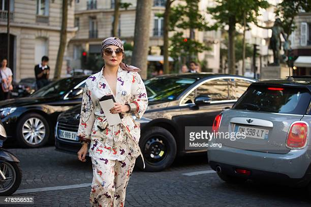 Catherine Baba enters the Haider Ackermann show on June 24 2015 in Paris France