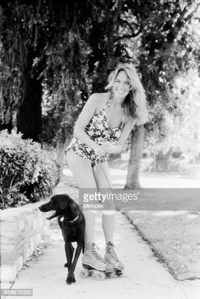 Catherine Bach actress who stars as Daisy Duke in tv series The Dukes of Hazard pictured at home in Los Angeles California May 1982 Catherine is...
