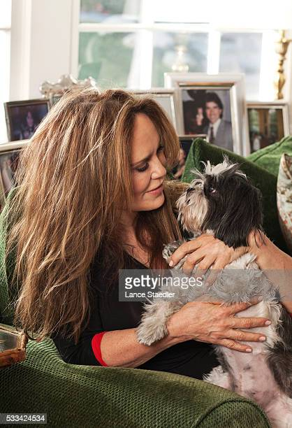 Catherine Bach at home in Encino CA with her shih tzu Dolce
