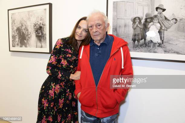 Catherine Bailey and David Bailey attend a private view and book launch for Bailey's Peru by David Bailey at Heni Gallery on October 18 2018 in...