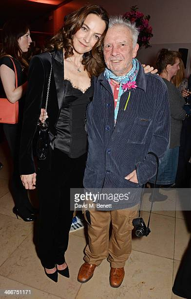Catherine Bailey and David Bailey attend a private view of Bailey's Stardust a exhibition of images by David Bailey supported by Hugo Boss at the...