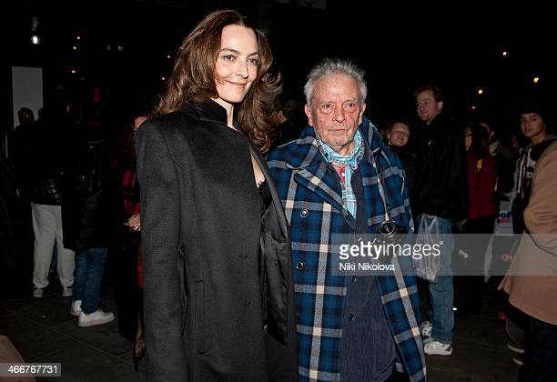 Catherine Bailey and David Bailey is seen leaving the Portrait Gallery Trafalgar Sq on February 3 2014 in London England