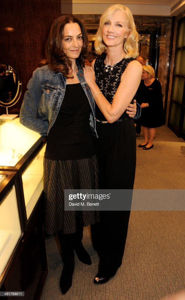 Catherine Bailey (L) and Joely Richardson attend as Joely Richardson officially opens the Tiffany & Co. Christmas Shop on Bond Street, London on November 24, 2013 in London, England.