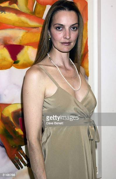 Catherine Bailey wife of photographer David Bailey during the party held for artist Francesco Clemente to show his new works at the 'Gogasian...
