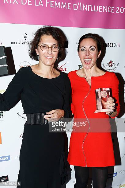 Catherine Barba and Nathalie Balla are pictured after being awarded during the 'Prix De La Femme D'Influence 2014' Ceremony At Hotel Du Louvre on...