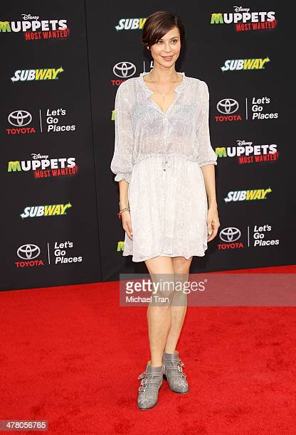 Catherine Bell arrives at the Los Angeles premiere of 'Muppets Most Wanted' held at the El Capitan Theatre on March 11 2014 in Hollywood California