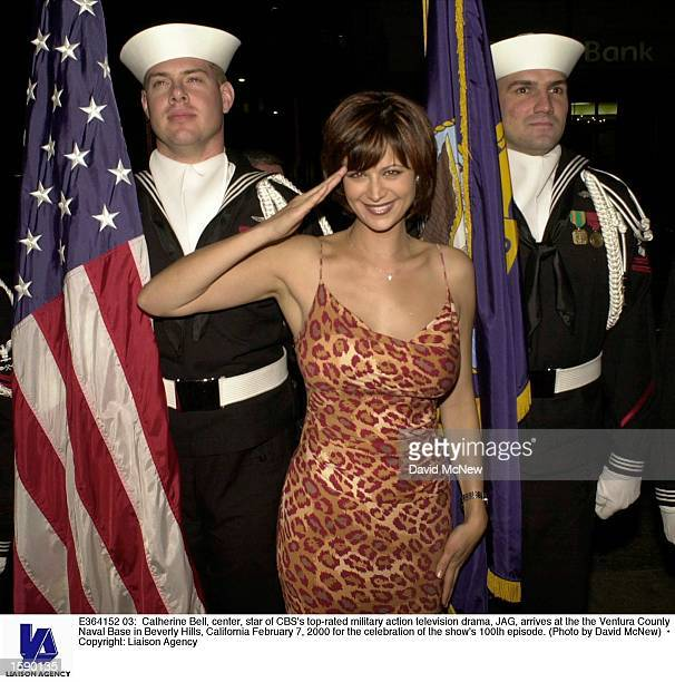 Catherine Bell center star of CBS's toprated military action television drama JAG arrives at the the Ventura County Naval Base in Beverly Hills...