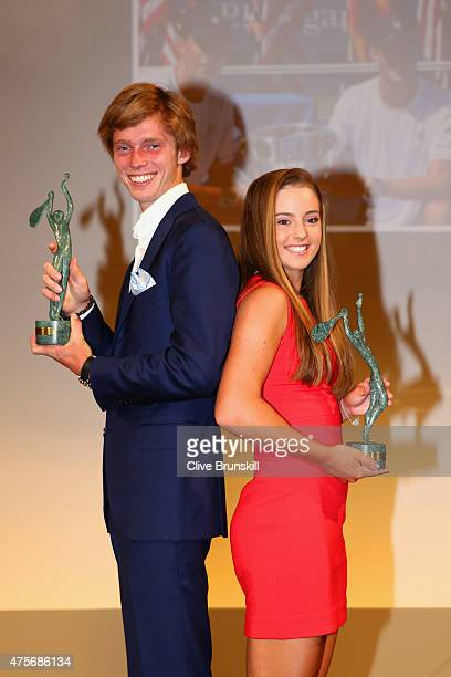 Catherine Bellis of the United States and Andrey Rublev of Russia pose at the ITF World Champions Gala Dinner after day ten of the 2015 French Open...