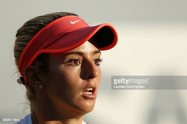 Catherine Bellis of the United States looks on as she competes against Venus Williams of the United States during day five of the Bank of the West...
