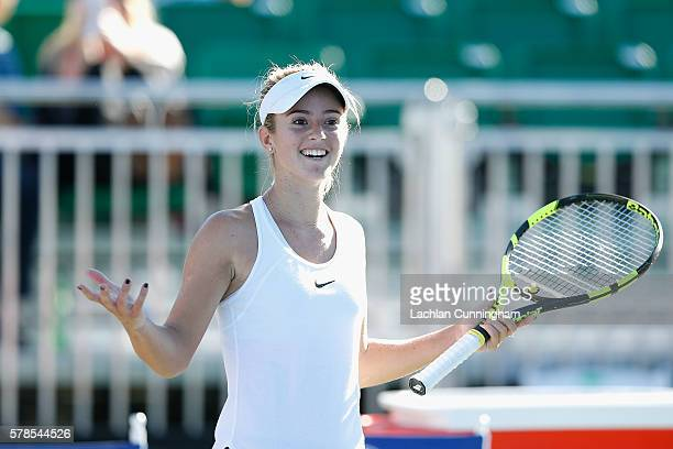 Catherine Bellis of the United States reacts after winning her match against Sachia Vickery of the United States during day four of the Bank of the...