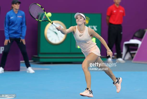 Catherine Bellis of the US returns the ball to Karolina Pliskova of the Czech Republic as they compete in their singles match during the third round...