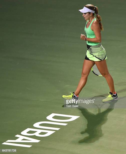 Catherine Bellis of United States celebrates a point during her match against Agnieszka Radwanska of Poland on day four of the WTA Dubai Duty Free...