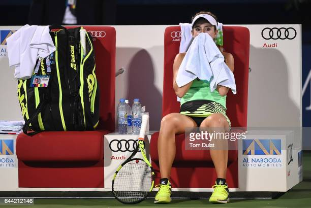 Catherine Bellis of United States looks on during her quarter final match against Caroline Wozniacki of Denmark on day five of the WTA Dubai Duty...