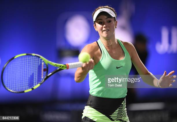 Catherine Bellis of United States plays a forehand during her quarter final match against Caroline Wozniacki of Denmark on day five of the WTA Dubai...