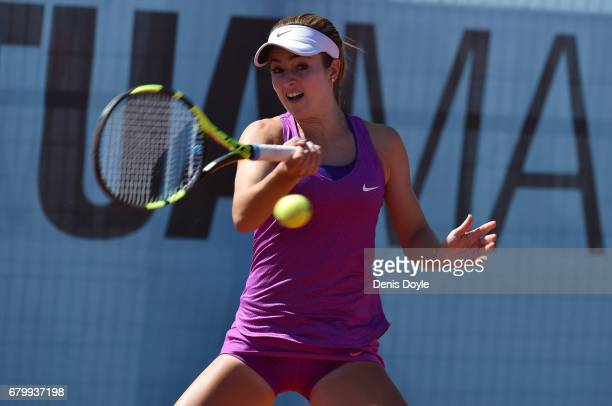 Catherine Bellis of USA in action against Daria Gavrilova of Australia during day two of the Mutua Madrid Open tennis at La Caja Magica on May 7 2017...