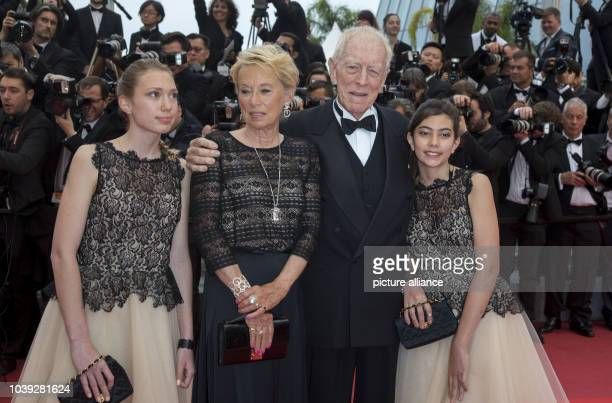 Catherine Brelet actor Max Von Sydow and two children attend the premiere of 'The BFG' during the 69th Annual Cannes Film Festival at Palais des...