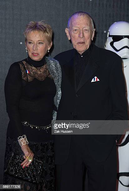 Catherine Brelet and Max Von Sydow arriving at the European premiere of Star Wars The Force Awakens in Leicester Square London