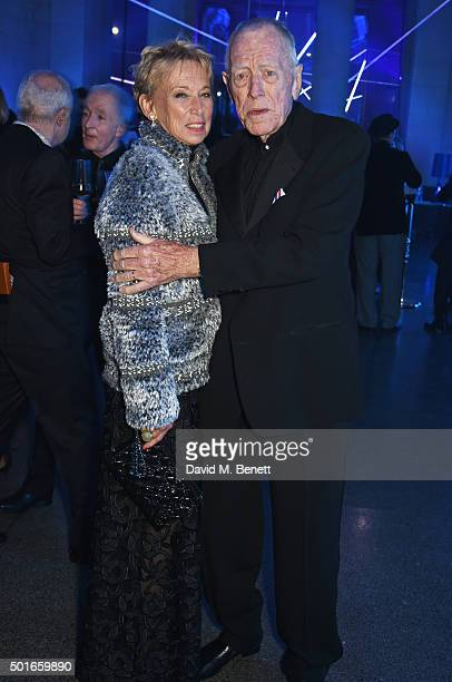 Catherine Brelet and Max von Sydow attend the after party following the European Premiere of Star Wars The Force Awakens at the Tate Britain on...