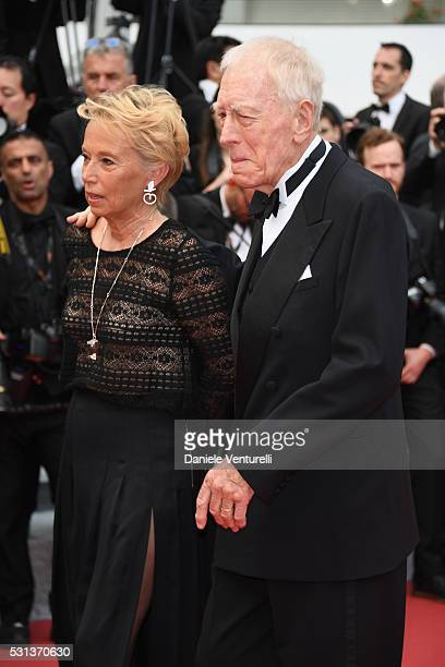 Catherine Brelet and Max Von Sydow attend The BFG premiere during the 69th annual Cannes Film Festival at the Palais des Festivals on May 14 2016 in...