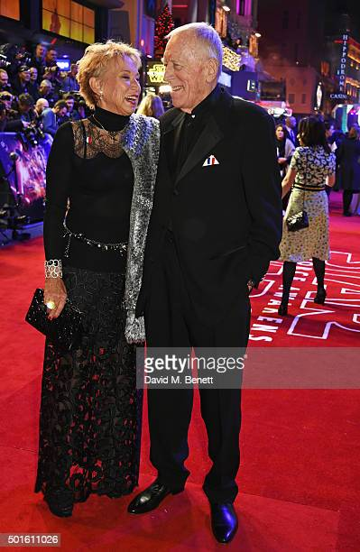 Catherine Brelet and Max von Sydow attend the European Premiere of Star Wars The Force Awakens in Leicester Square on December 16 2015 in London...
