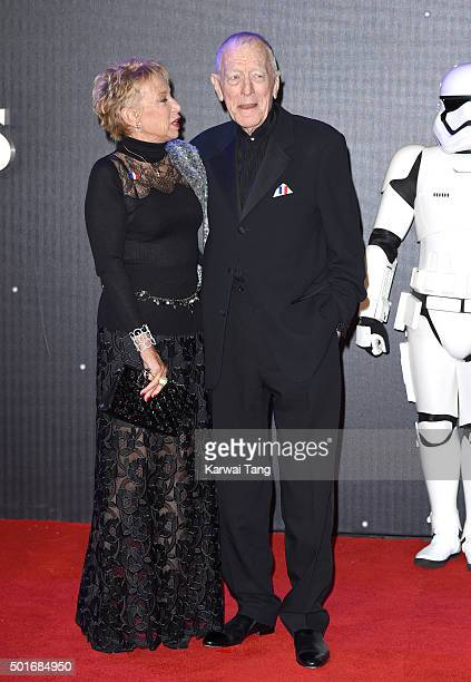 Catherine Brelet and Max von Sydow attend the European Premiere of Star Wars The Force Awakens at Leicester Square on December 16 2015 in London...