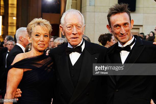 Catherine Brelet Max von Sydow and Cedric von Sydow arrive at the 84th Annual Academy Awards held at the Hollywood Highland Center on February 26...