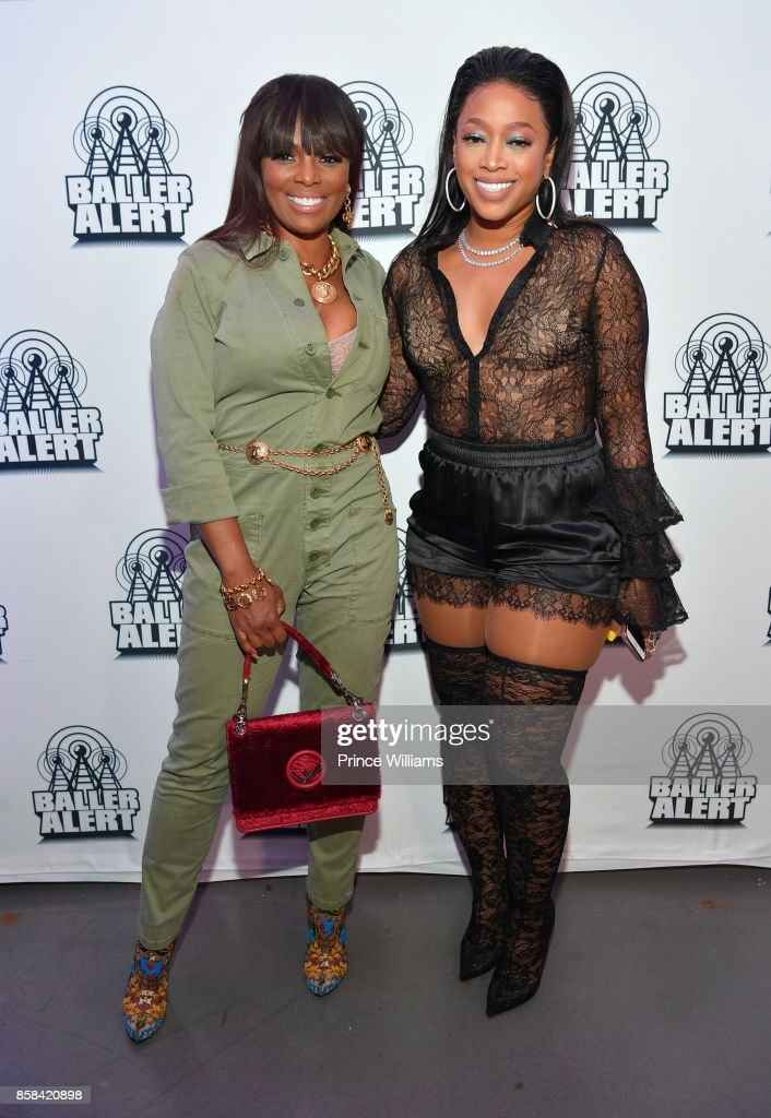 Catherine Brewton and Trina attend Baller Alert's Bowl With a a Baller at Basement Bowl on October 5, 2017 in Miami, Florida.