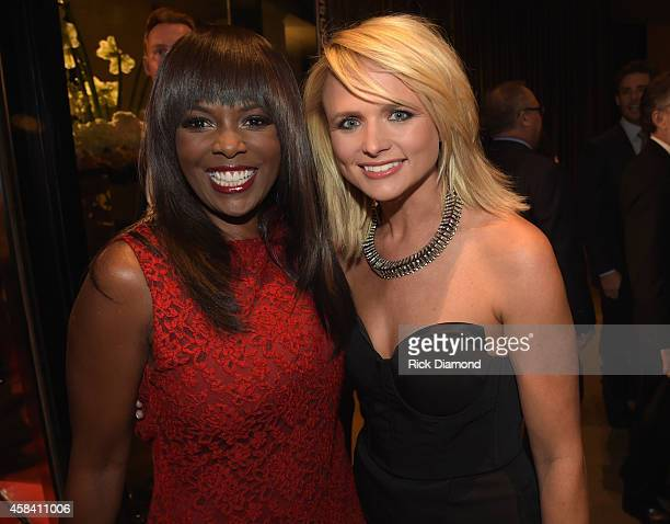 Catherine Brewton of BMI and singer Miranda Lambert attend the BMI 2014 Country Awards at BMI on November 4 2014 in Nashville Tennessee