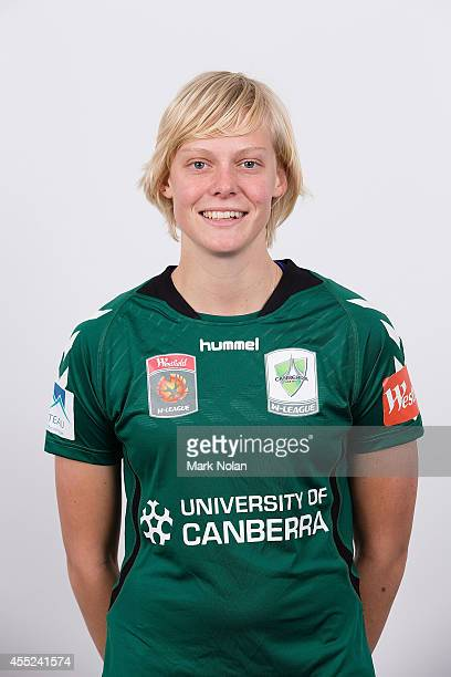 Catherine Brown poses during the Canberra United WLeague headshots session at the AIS on September 10 2014 in Canberra Australia