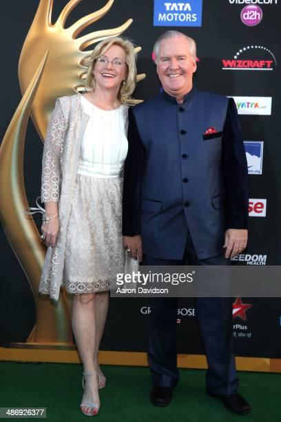 Catherine Buckhorn and Mayor Bob Buckhorn arrive at the IIFA Awards at Raymond James Stadium on April 26 2014 in Tampa Florida
