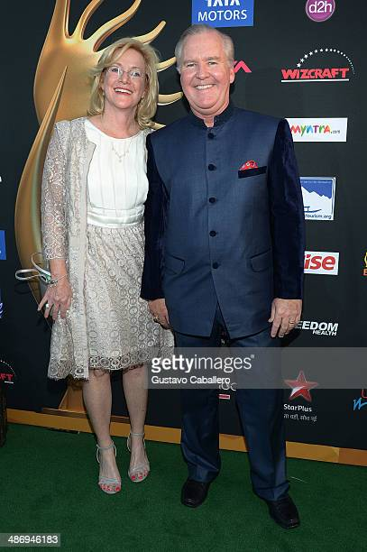 Catherine Buckhorn and Mayor Bob Buckhorn arrive to the IIFA Awards at Raymond James Stadium on April 26 2014 in Tampa Florida