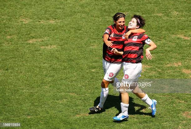 Catherine Cannuli and Sarah Walsh of the Wanderers celebrate a goal by Walsh during the round six WLeague match between the Western Sydney Wanderers...