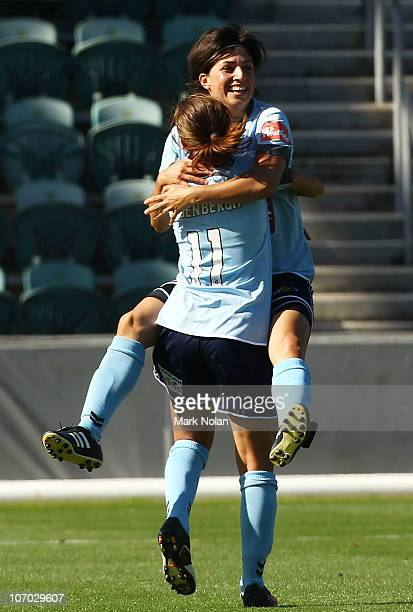 Catherine Cannuli of Sydney celebrates heer goal during the round three WLeague match between Sydney FC and Adelaide United at WIN Stadium on...