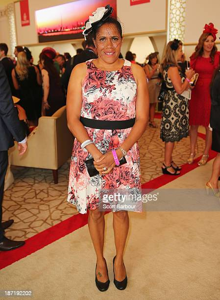 Catherine 'Cathy' Freeman attends the Emirates marquee during Oaks Day at Flemington Racecourse on November 7 2013 in Melbourne Australia