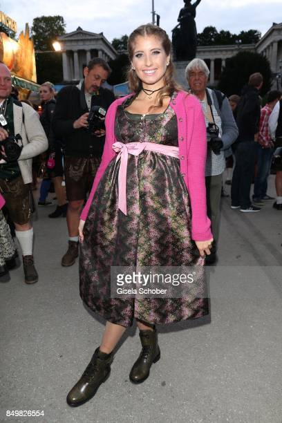 Catherine Cathy Hummels wearing a dirndl by Angermaier Trachten' during the Angermaier Wies'n as part of the Oktoberfest at Theresienwiese on...