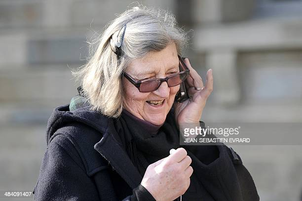 Catherine Cazeneuve sister of Agnes Le Roux speaks on her mobile when leaving the court after Maurice Agnelet was sentenced to 20 years in prison for...