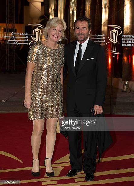Catherine Ceylac and Bernard Montiel attend the closing ceremony at the 12th International Marrakech Film Festival on December 8 2012 in Marrakech...