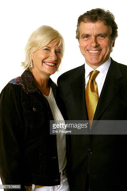 Catherine Ceylac and Claude Serillon arrive at the cocktail for the launch of Roland Bijaoui's book held at his restaurant 'La Barge' in Paris