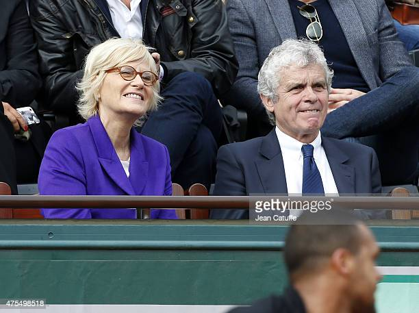 Catherine Ceylac and husband Claude Serillon attend day 8 of the French Open 2015 at Roland Garros stadium on May 31 2015 in Paris France