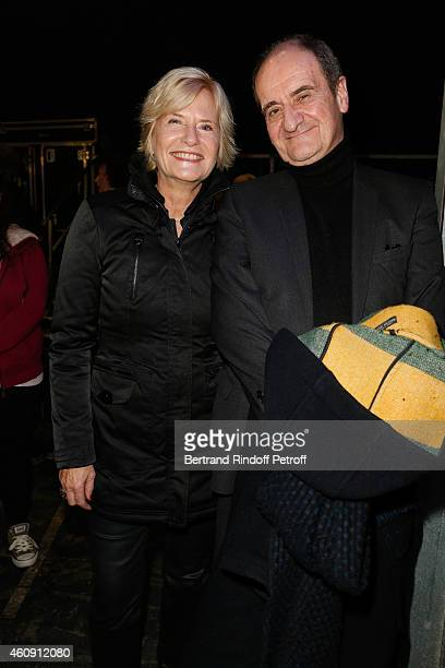 Catherine Ceylac and Pierre Lescure attend in Backstage the Laurent Gerra Show at Palais des Sports on December 27 2014 in Paris France