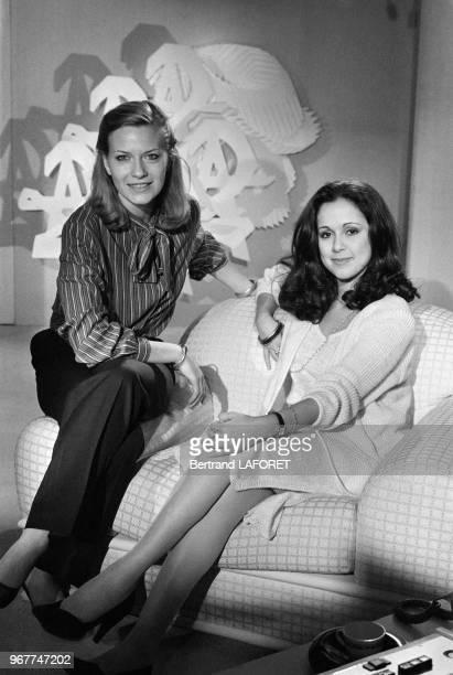 Catherine Ceylac et Elisabeth Tordjman speakerines sur Antenne 2 à Paris le 28 février 1980 France