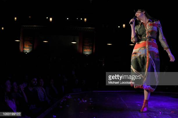 Catherine Cohen performs during the the Movement Voter Project comedy benefit at The Bell House on October 24 2018 in the Brooklyn borough of New...