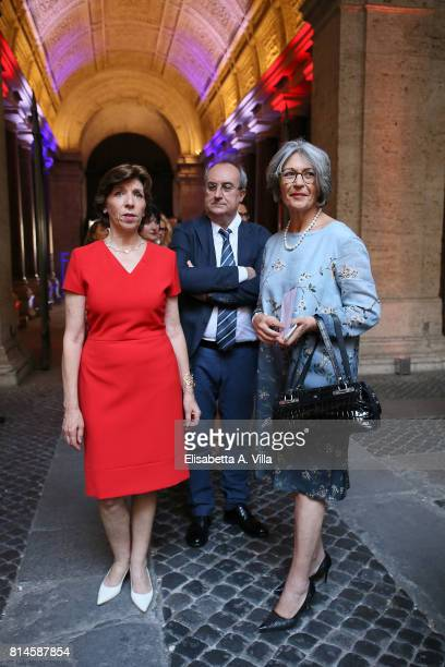Catherine Colonna and Anna Finocchiaro attend French National Day celebrations on July 14 2017 in Rome Italy